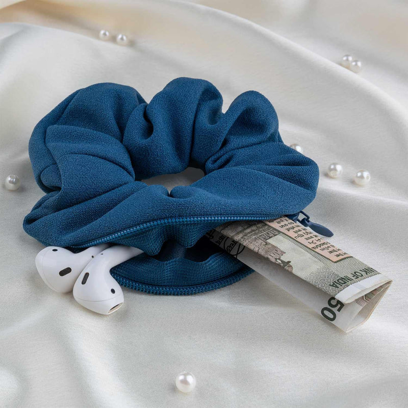 Steel Blue Secret Pocket Crepe Knit Scrunchie