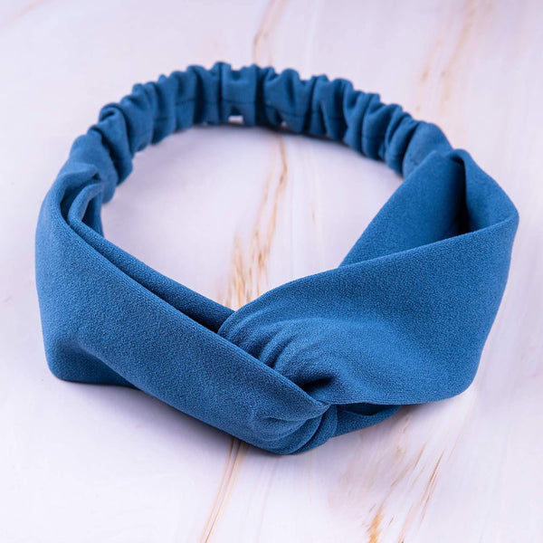 Steel Blue Elastic Crepe Knit Hairband