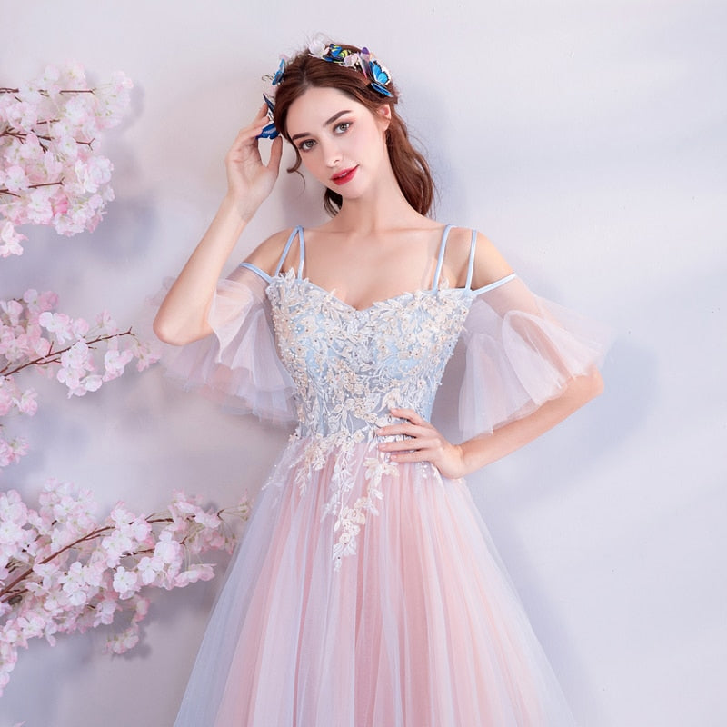b4b32bd7c9c1c Load image into Gallery viewer, Svana 2019 Evening Dresses Flowers Off  Shoulder Backless Lace Up ...