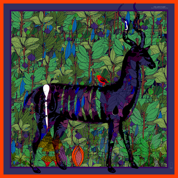 Forest Deer and The Hemming Bird (Nsem Keka)