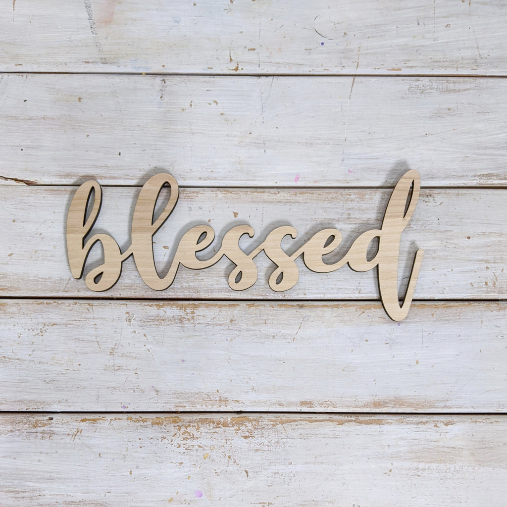 10 inch Blessed Phrase Wood Cutout _sola_wood_flowers
