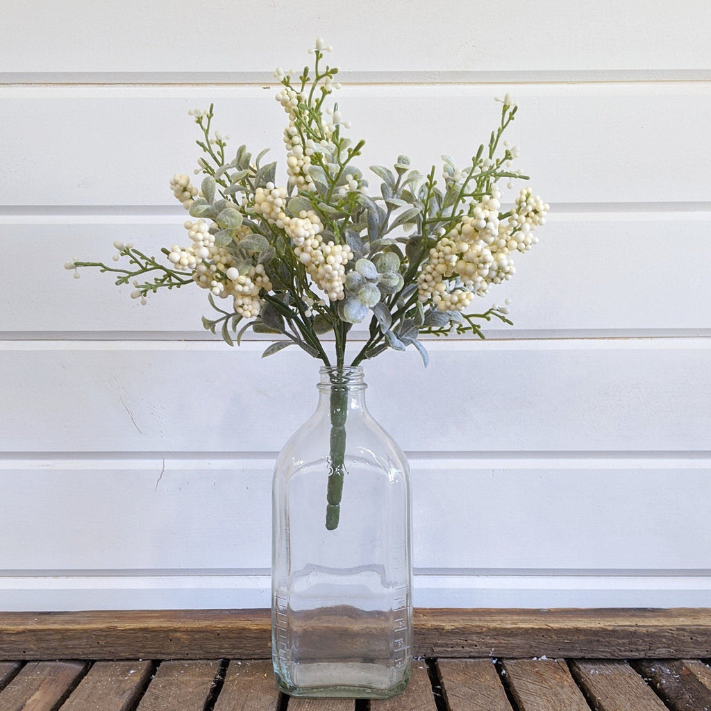 Mini Eucalyptus Spring Greenery with cream berries  - faux