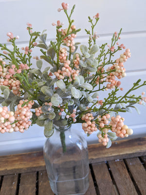 Mini Eucalyptus Spring Greenery with pink berries  - faux - sola wood flowers wholesale