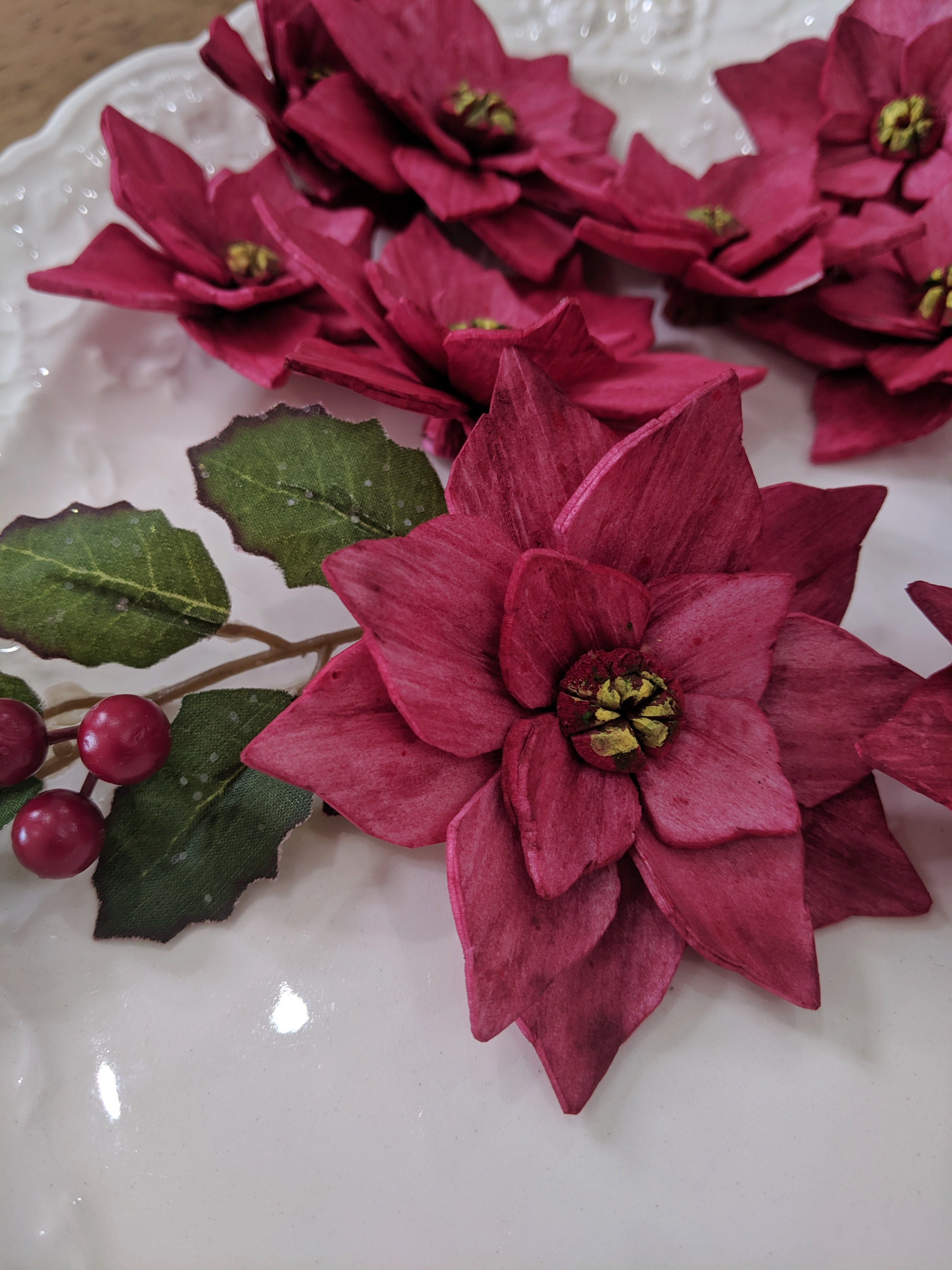 Poinsettia - set of  12- multiple sizes available