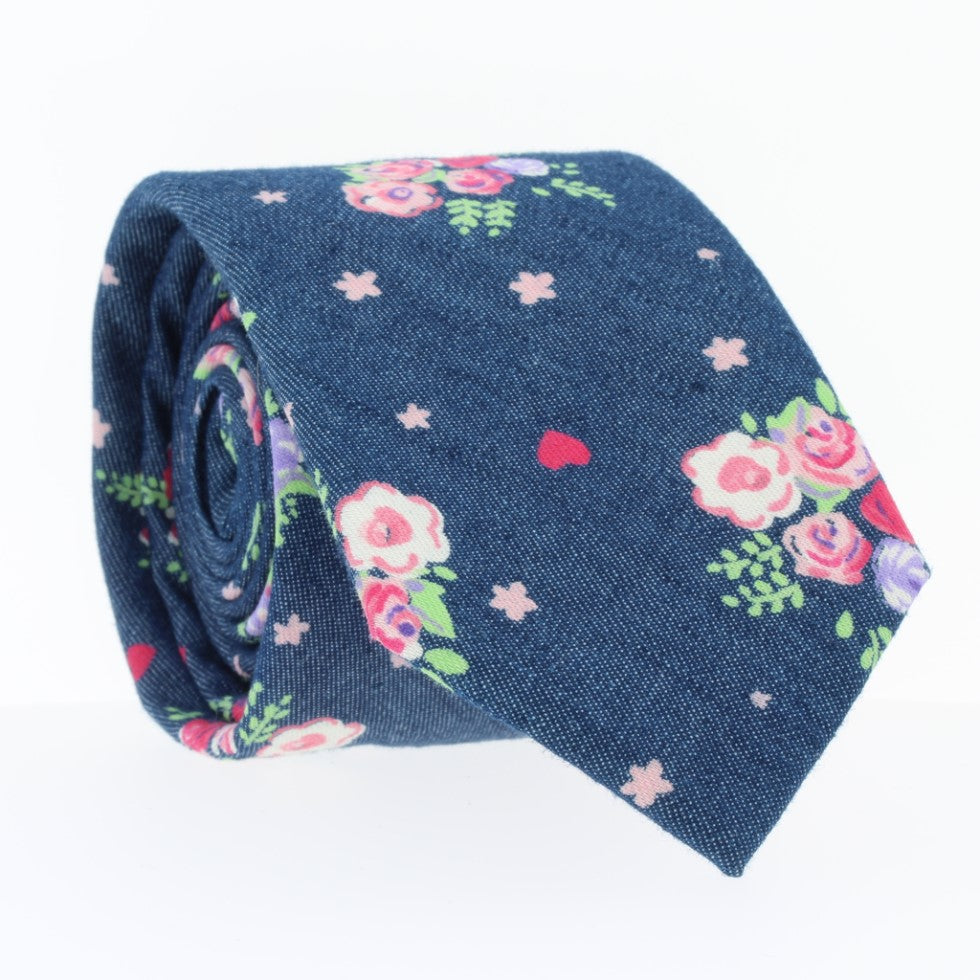 Summer Blooms, NECKTIES, skinny ties, floral ties, affordable, cotton ties, confidence- CORBATA