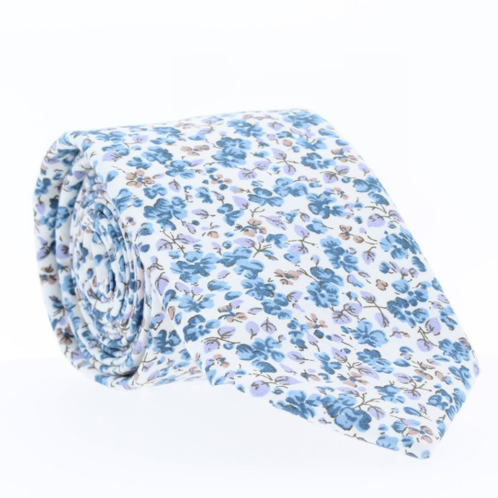 Forget Me Not, NECKTIES, skinny ties, floral ties, affordable, cotton ties, confidence- CORBATA
