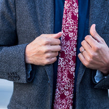 Ruby, NECKTIES, skinny ties, floral ties, affordable, cotton ties, confidence- CORBATA