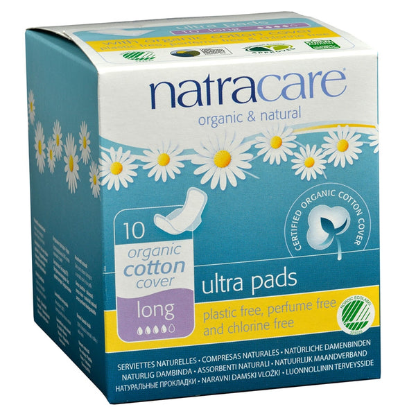 Natracare Natural Ultra Pads with Wings, Long 10 count  95% Biodegradable NonChlorine Bleached
