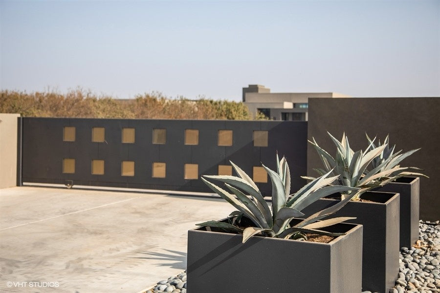 Modern Elite Aluminum Cube Planters at Private Residence