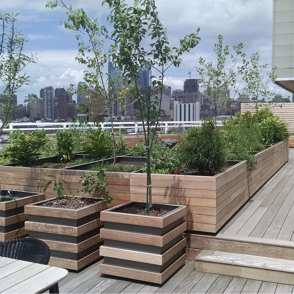 Wood-clad aluminum planter on rooftop | PureModern