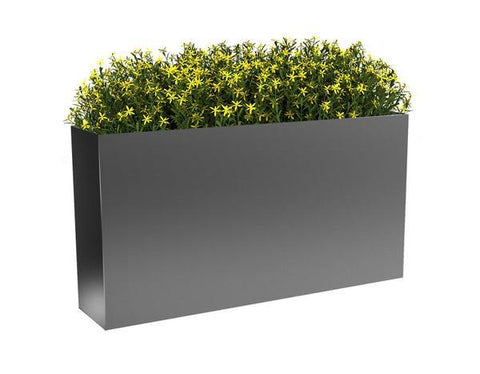 Modern Elite Rectangle Planter Pewter With Plants