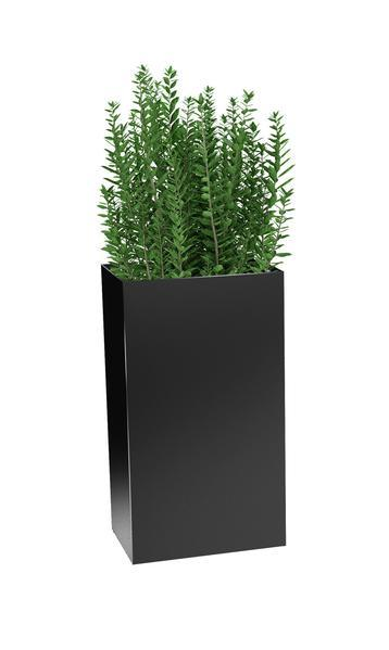Modern Elite Wide Tower Planter Matte Black with plants