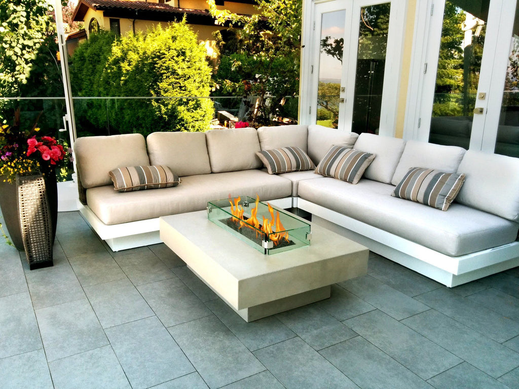 modern fire table  fire pit  outdoor furniture - modern fire table moonlight with glass barrier