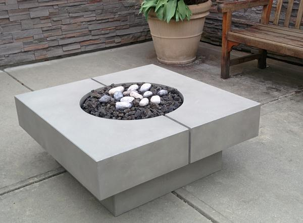 Modern Square Fire Table with lava rocks