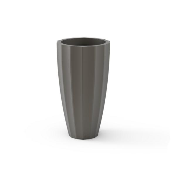 Tau Striata Tapered Planter 7180 Pewter