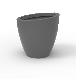 Tau Turrim Sloped Fiberglass Round Planter 4310 Pewter
