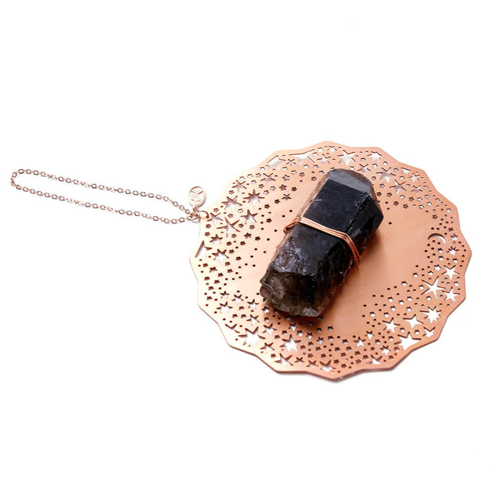 Smokey Quartz + Rose Gold Ornament