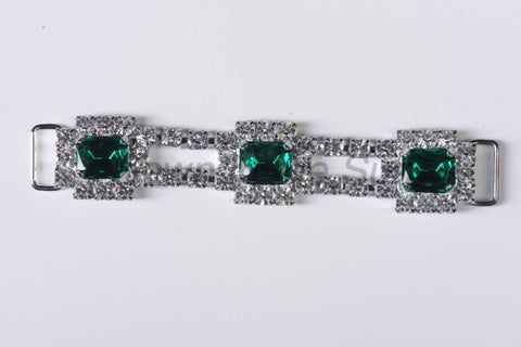 #336 Emerald & Crystal in Silver