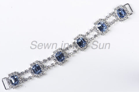 #707 Crystal & Light Sapphire in Silver