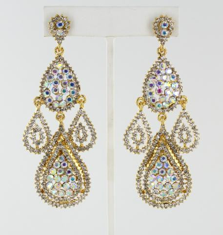 Crystal & Crystal AB in Gold Earrings