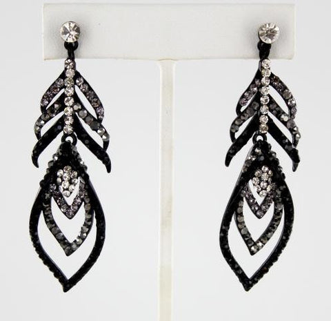 Jet, Black & Crystal Earrings