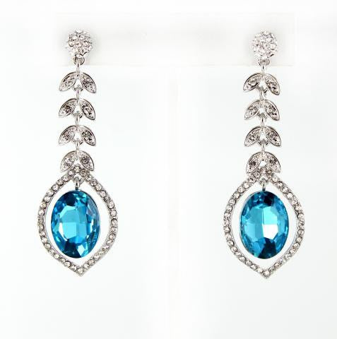 Aquamarine & Crystal Earrings