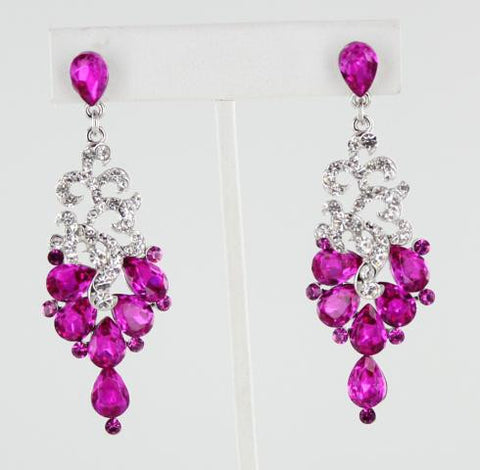 Fuchsia & Crystal in Silver