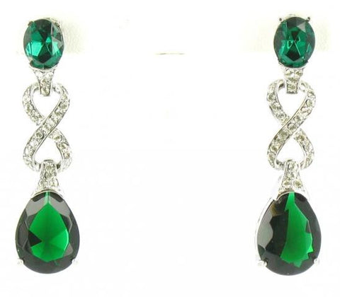 Emerald & Crystal in Silver Earrings