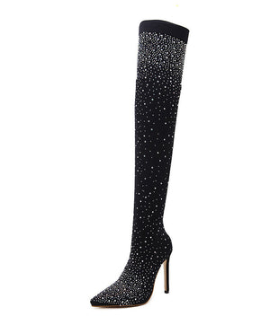Anna Crystal Sock Boots Over-the-Knee Heels