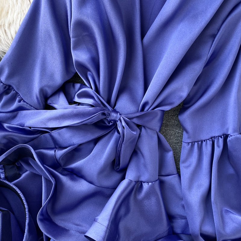 Luxxy Elegant Dress Ruffles electric colors