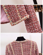 Queen 2 Piece Set Tweed Short Jacket Coat+Beading Vest - SevenStarCollection