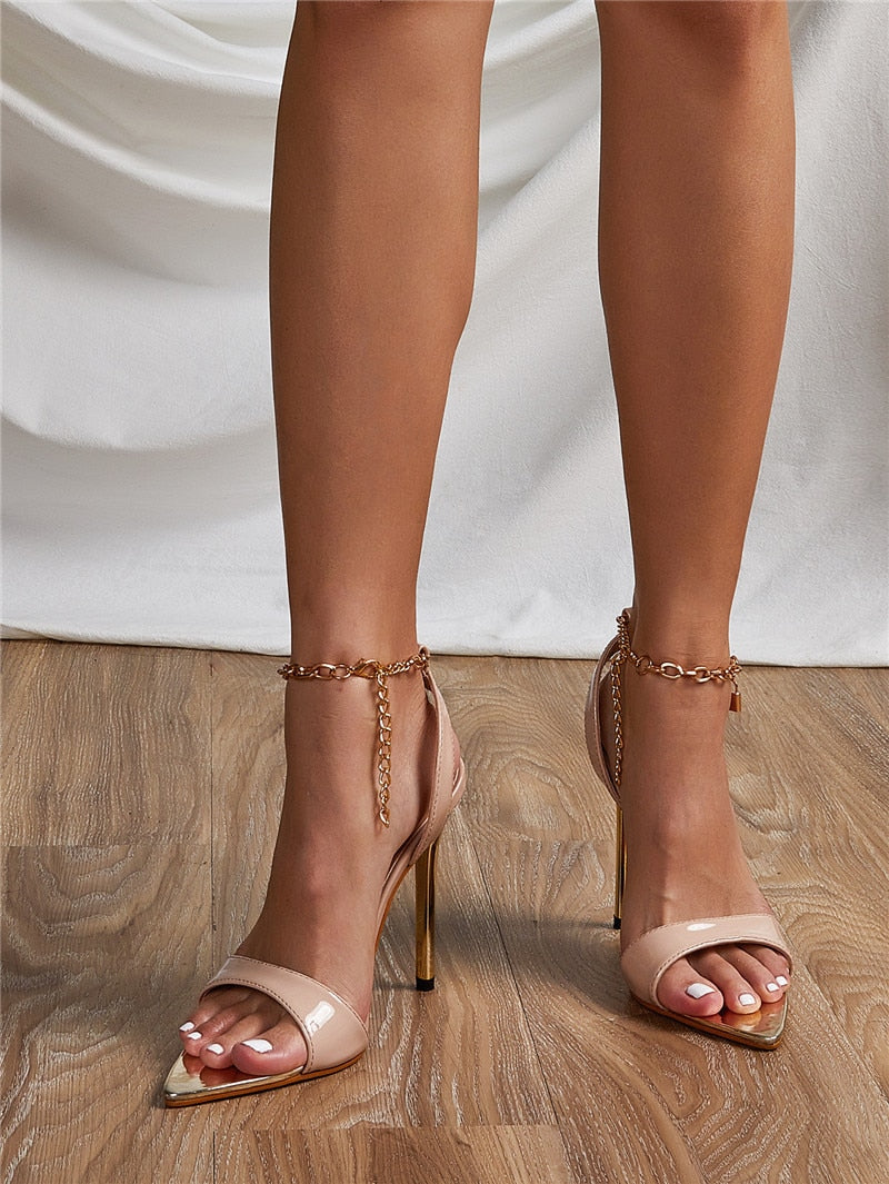 Amalia Chain Ankle Sandals High Heels - SevenStarCollection