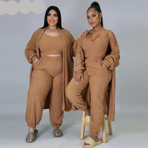 Plush Tracksuit Three Piece Outfits - SevenStarCollection