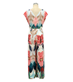 Juliana Jumpsuits Floral V-neck Beach Rompers - SevenStarCollection