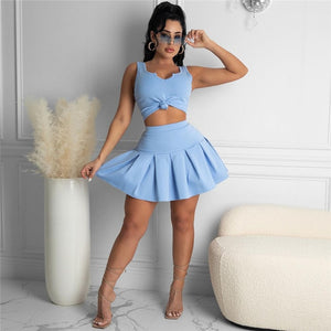 Lili Set Two-Piece Outfit Crop Top And Pleated Skirt Set - SevenStarCollection
