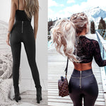 Zaya Leather Zipper Pants Casual High Waist Skinny