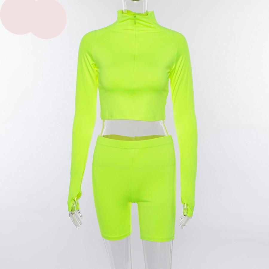 Kim Fluorescent Two Pieces Set Full Sleeve Zipper Turtleneck Tops And High Waist Shorts Suits