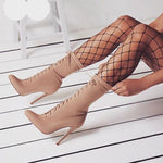 Amelia Boots Pointed Toe Stiletto Heel Shoes Stretch freeshipping - SevenStarCollection
