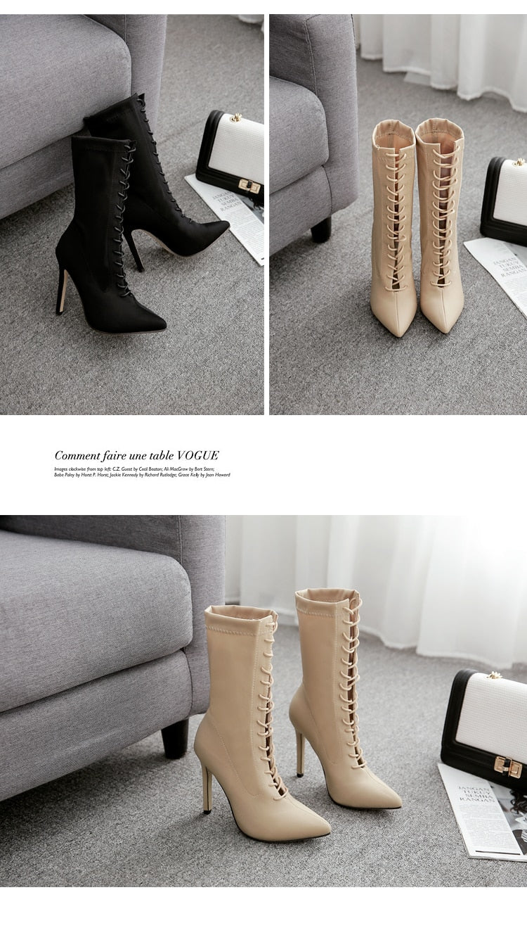 Amelia Boots Pointed Toe Stiletto Heel Shoes Stretch