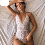 Maya Lace Bodysuit Embroidery Backless Jumpsuit Overalls Sleepwear