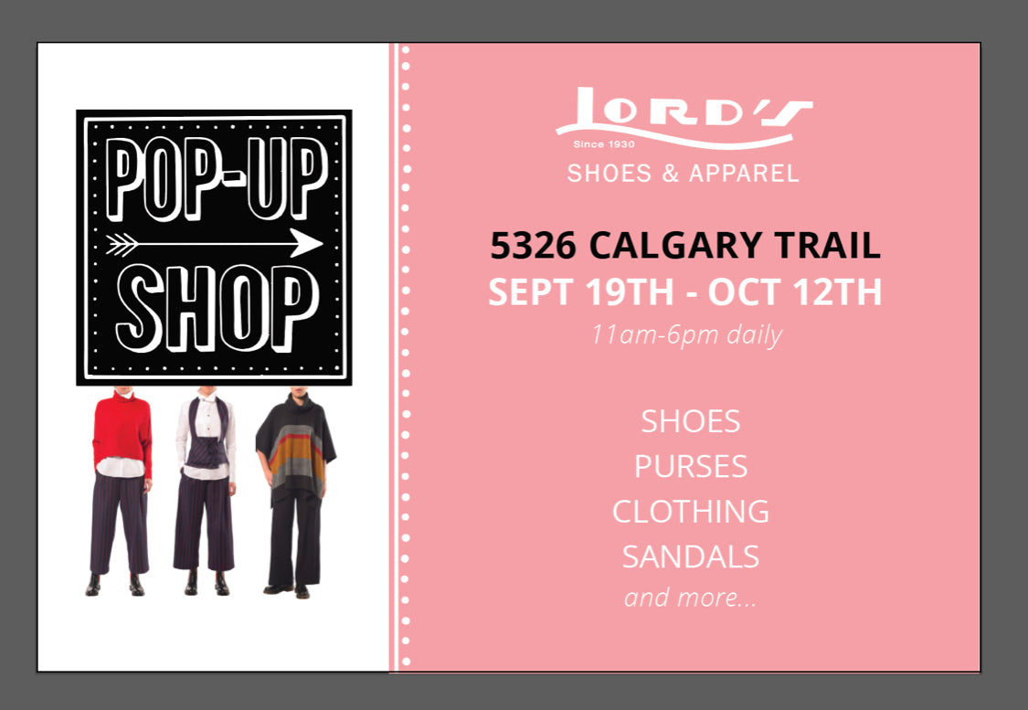 edmonton shoe pop up shop September 19th to October 22nd on Calgary trail south