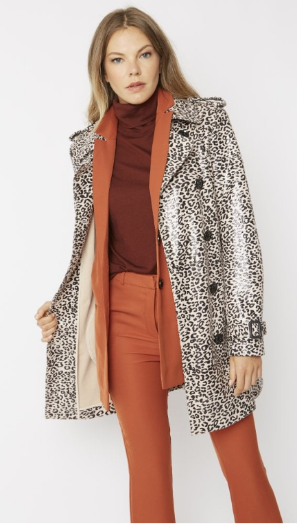 Sutra -Animal Print Trench Coat style