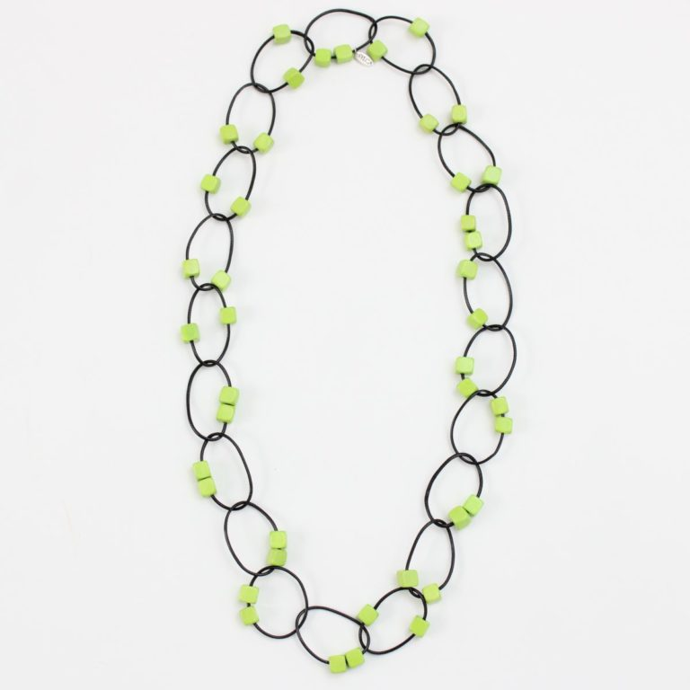 UN19N27-Lime Beaded Loop Gemma Necklace
