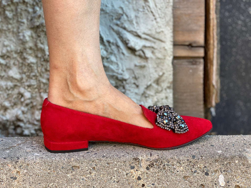 T3754-Bow Red Suede