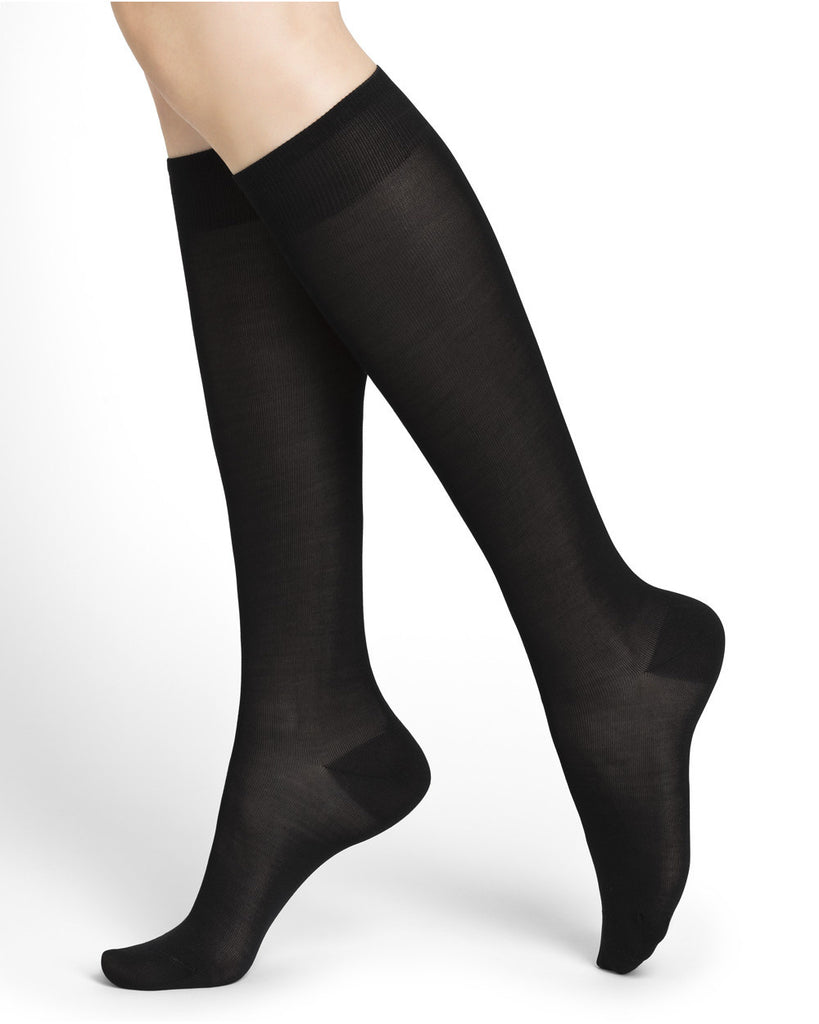 6125-Plain Silk Knee-Highs