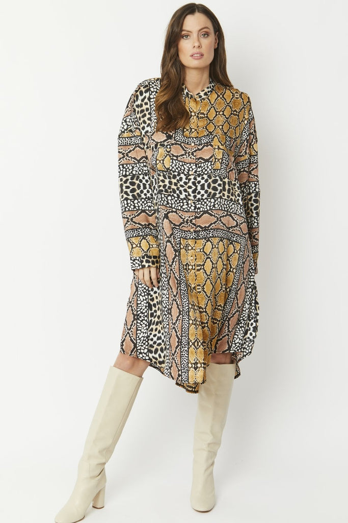 SLKDH195A-09-Silk Blend Mixed Animal Print Shirt Dress