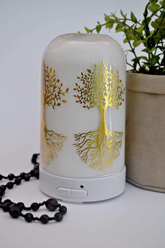 Diffuser Enchanted Tree white glass with gold foil