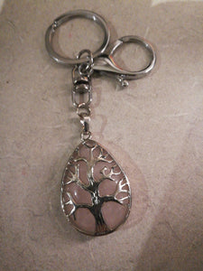Rose Quartz Tree of Life keyring