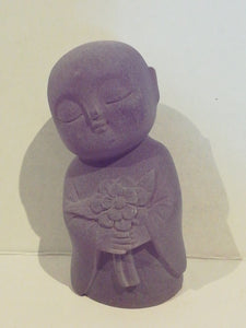 Jizo holding flowers statue 80 mm
