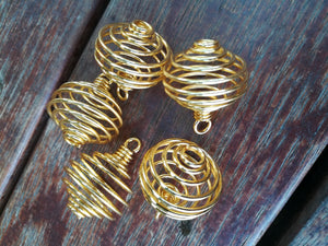 Spiral Cage Pendant Gold & Silver